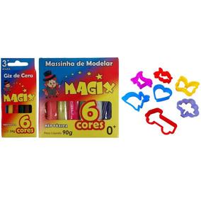 Kit 3 Itens - 50 Massinha De Modelar, 50 Giz, 200 Forminhas