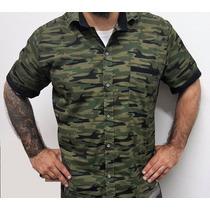 Camisa Camuflada Manga Corta Verde Militar Con Vivos Negros