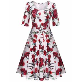 Vestido Vintage Retro Pin Up Flores Fiesta Moda Japonesa