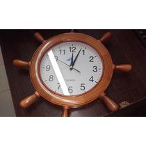 Reloj De Pared Madera Maciza Modelo Nautico