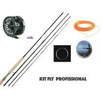 Kit Pesca Fly Profissional #6#7 Vara+carretilha+linha+lider