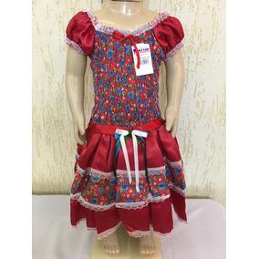 Vestido De Festa Junina Infanti Tam 12 Lindo Cetim