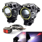 Par Faros Cree Led Moto U7 15w 3000l + Ojo Angel + Switch