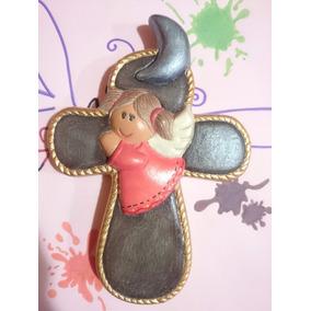Cruz Angelita Luna Ceramica 20cm Recuerdo Fiesta Pieza