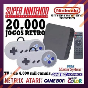 Tv Box Gamer 4k + 2 Controles Super Nintendo + 20.000 Jogos