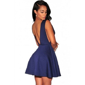 Sexy Vestido Azul Moda Retro Elegante Espalda Desnuda 21887