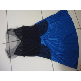 Vestido Azul Com Renda Na Frente E Transparência Nas Costas