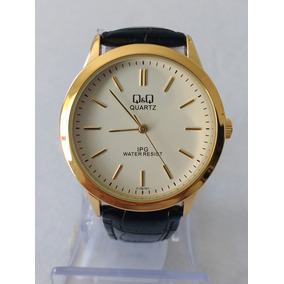 Relógio Dourado Social Masculino Pulseira Couro Original