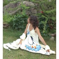 Vestido Artesanal Mujer Informal Pintado A Mano