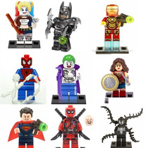 Bonecos Lego Arlequina Coringa Batman Deadpool Homem Aranha