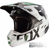 Casco Fox Racing V2 Union Se Talla M Blanco/negro/verde