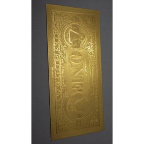 Nota One Dollar Gold Dourada Sorte Pvc Colecionado Linda