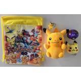 Pokemon Pikachu Peluche + Llavero + Pokebola + Bolso + Envio