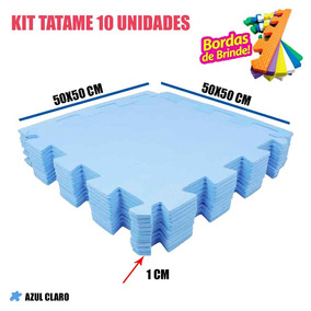 Tapete De Eva Tatame Kit 10 Peças Azul Claro 50x50x1cm 10mm