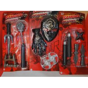 Kit Armas Samurai Ninja Dragão Estrelas Nunchaku Soco Garras