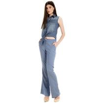 Calça Jeans Flare Cintura Alta De Viscose Principessa Wisla