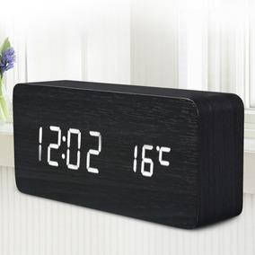 Relógio Mesa Digital Madeira Com Data Temperatura Alarme