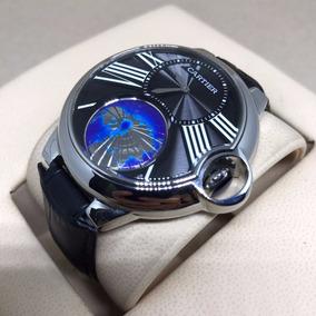 Relógio Cartier Automatico Prata Mostrador Preto Couro