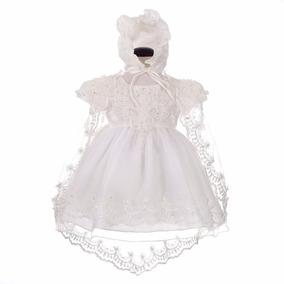 Vestido Bebê Batizado Com Touca Renda - Pronta Entrega
