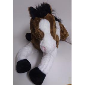 Cavalo De Pelúcia Marrom E Branco - 45cm