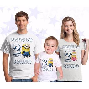 Kit Camisetas Personalizadas Aniversário Minions Com 3 Unid