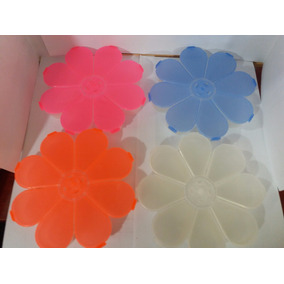 Caja Plastica En Forma De Flor, Todo Uso. Colores Varios.