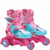 Patins 3 Rodas Ajustável Barbie 29 Á 32 Com Kit Proteção Fun