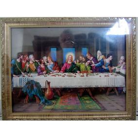 Quadro De Parede Santa Ceia Decoração Madeira Vidro 35 X 45