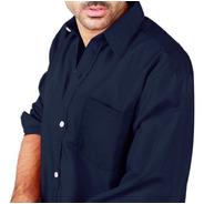 Camisa Manga Larga Lisa Hombre Con Bolsillo Talles Grandes