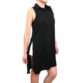 Blusa Negra Remeron Seda Negra De Vestir C/ Tajos