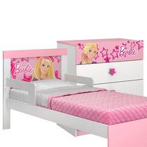 Cama Com Proteção Lateral E Cômoda Infantil Barbie Happy