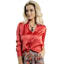 Camisa Social Feminina Cetim Vermelho Principessa Cristina