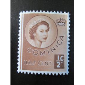 Selo Postal Inglaterra Half Cent Rainha Elizabeth Dominica