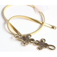 Cinto Feminino Elástico De Metal Dourado Fivela Trabalhada
