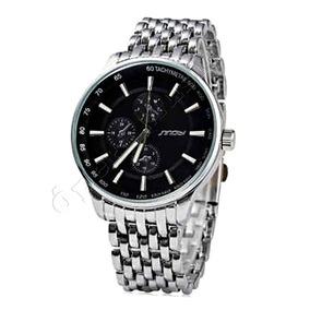 Relógio De Luxo Quartzo Sinobi Pulseira E Caixa De Aço