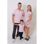 Pais E Filho  Kit 3 Pçs Camisas Ou Body Polo E Vestido Rosa