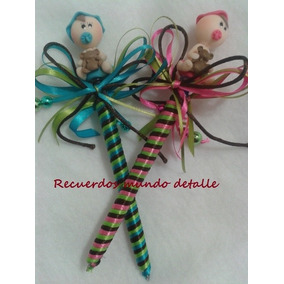 Plumas Decoradas Con Bebes, Recuerditos Para Baby Shower