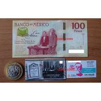 Billete $100 Centenario Constitucion Timbre Moneda Boleto M
