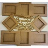 Porta Retrato Multiple Con Frase En Fibrofacil 8 Fotos