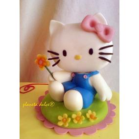 Adorno Torta Hello Kitty + Nombre + Velita *planeta Dulce*