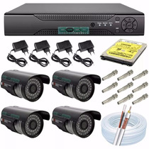 Kit Monitoramento Dvr 4 Canais + 4 Câmera Infra + Hd + Cabo