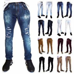 Calça Masculina Jeans Sarja Skinny Lycra Premium Colorida