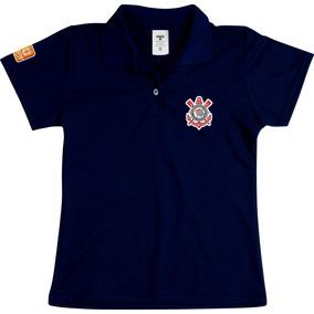 Camisa Polo Feminina Corinthians Baby Look Especial Preto