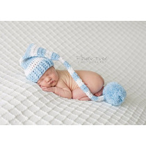 Gorro Touca Elfo Pompom Em Crochê Bebê Newborn -3 Gorros