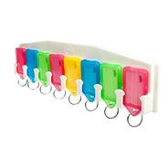 Portallaveros Blanco Con 8 Llaveros Identificadores De Color
