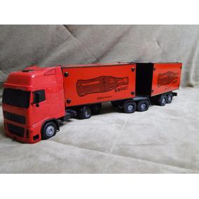 Caminhão Brinquedo Volvo Globetroter Carreta Bitrem Bau Mdf