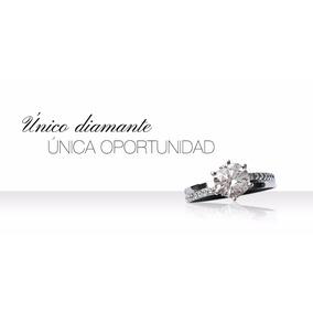 Anillo Compromiso Solitario Oro Blanco 14k. Ct 1.07