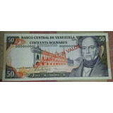 Especimen Billete 50 Bs Del 05 De Junio De 1995 Unc