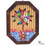 Quadro Flores Coloridas Madeira Rustico 80x60cm Frete Grátis