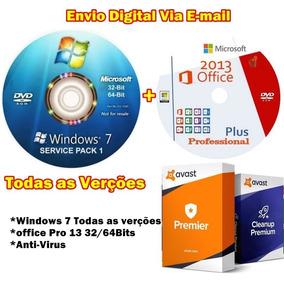 Cd Windows 7 Todas As Versões + Office 13pro / Antivirus